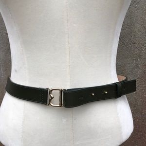 Brooks Brothers Dark Green Leather Belt Medium